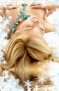 Dreaming blonde in spa Royalty Free Stock Photo