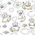 Dreaming cats seamless pattern Stock Images