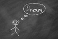Dreaming concept drawn with white chalk on blackboard Stock Images