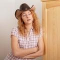 Dreaming cowboy girl Royalty Free Stock Photo