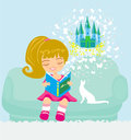 Dreaming about fairytale illustration Stock Photography