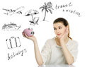Dreaming girl beautiful with piggy bank Stock Photos