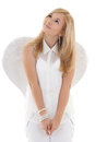 Dreaming girl in white with wings Stock Image