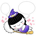 Dreaming Little Witch. A Sorceress Character Stock Images