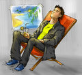 Dreaming office worker of having a vacation on the sea shore ink drawing colored Stock Image