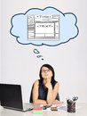 Dreaming at web page businesswoman sitting in office and Royalty Free Stock Photos