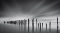 Dreams of desolation black and white fine art seascape with a decayed pier Stock Photos
