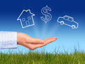 Dreams house dollar symbol and car in hand Stock Photography