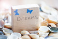 Dreams message on the beach - vacation and travel concept Royalty Free Stock Photo