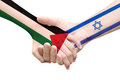 Dreams of the peace people holding hands with national flags palestine and israel middle east Royalty Free Stock Photo