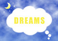 Dreams text with clouds texture against a sky background Stock Image