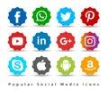 Popular social media icons.