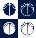 Basketball logo Ball vector icon set, streetball championship tournament, school or college team league. Vector flat basket ball. Royalty Free Stock Photo
