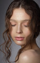 Dreamy girl with closed eyes in thoughts natural clean skin woman Stock Photos