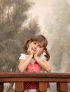 Dreamy girl little cute with pigtails Stock Images