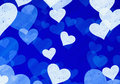 Dreamy light hearts on blue backgrounds