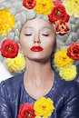 Dreamy Woman with Closed Eyes and Colorful Flowers
