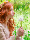 Dreamy woman with dandelions Royalty Free Stock Image