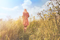 Dreamy woman walking in nature towards the sun Royalty Free Stock Photo
