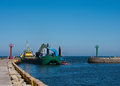 Dredger ship port harbor entrance Stock Photos