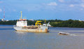 Dredgind vessel dredging in chaopraya river Stock Images