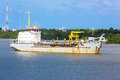 Dredgind vessel dredging on chaopraya river Royalty Free Stock Photos