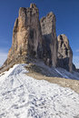 Drei zinnen mountain peaks tre cime di lavaredo in the alps Stock Image