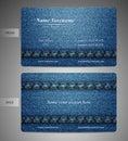 Drelichowy projektujący biznesowego card- przód i zadek Obraz Stock