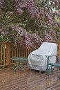 Drenched autumn a rain wet wooden deck with a covered lawn chair and the red canopy of a beautiful japanese maple tree hanging and Stock Photo