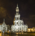 Dresden Cathedral with the Dresden Castle at night Royalty Free Stock Photo