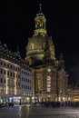 Dresden Frauenkirche at night, Germany Royalty Free Stock Photo