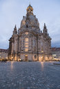 Dresden frauenkirche scenic view of illuminated at dusk saxony germay Royalty Free Stock Image