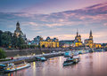 Dresden germany above the elbe river Royalty Free Stock Photos