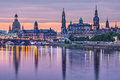Dresden germany above the elbe river at dawn Stock Photo
