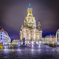 Dresden germany at neumarkt square and frauenkirche at night Stock Photo