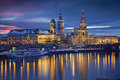 Dresden image of germany during twilight blue hour with elbe river in the foreground Royalty Free Stock Photography