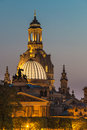 Dresden night, Germany - Frauenkirche Church, Art Academy Royalty Free Stock Photo