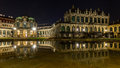 Dresden by night, Germany- Palace Zwinger reflected water Royalty Free Stock Photo