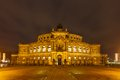 Dresden Opera Theatre at night Royalty Free Stock Photo