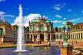 Dresden zwinger museum beautiful view with fountain Stock Photography