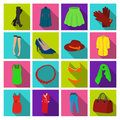 Dress, bra, shoes, women`s clothing. Women`s clothing set collection icons in flat style vector symbol stock