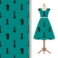 Dress fabric pattern with chess pieces