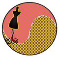 Dress form sticker illustration of a silhouette in shape of a circle Stock Image