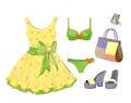 Dress, handbag, bikini and sandals. Royalty Free Stock Photo