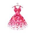 Dress of pink rose petals