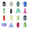 Dress, sarafan, coats of women`s clothing. Women`s clothing set collection icons in cartoon style vector symbol stock