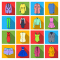 Dress, sarafan, coats of women`s clothing. Women`s clothing set collection icons in flat style vector symbol stock