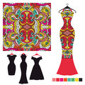 Dress silhouette with tribal seamless pattern.Fashion