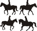 Dressage silhouettes girl on horseback horses in action black white icons and symbols Stock Image