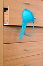 Dresser and bra wooden with blue Stock Photo